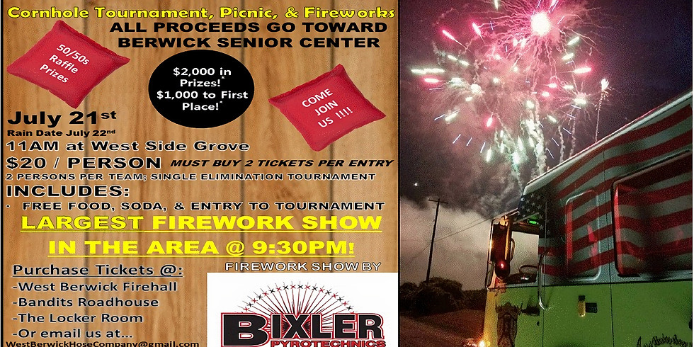 Cornhole Tournament, Picnic, Fireworks