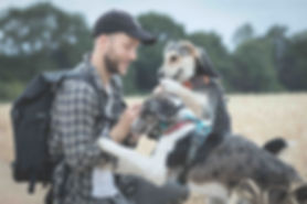 Oliver Prince with pet rescue dogs in fi
