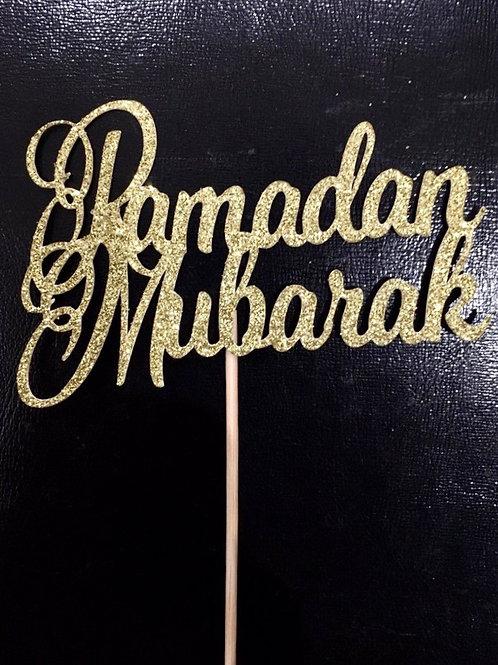 Ramadan Mubarak Glitter Cake Topper   Ramadan Gold Food Label