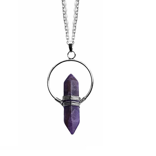 AMETHYST WIRE NECKLACE