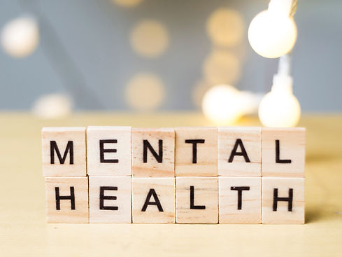 Mental health wooden words lettering, he