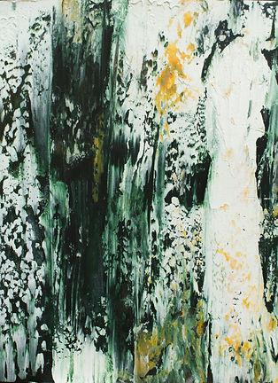 Forêt intérieure. 15x11 po. cire froide et huile sur papier.