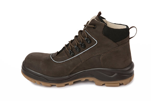 Steel Toe Leather Boots - Brown With Reflective Tape