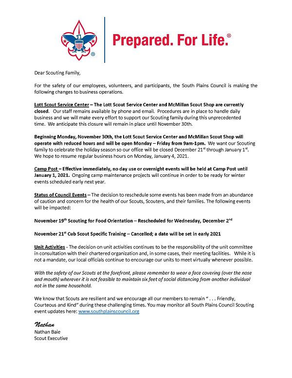 South Plains Council COVID-19 Update 11.