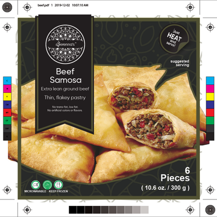 beef samosa label