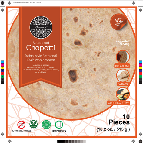 unkoocked chapatti label