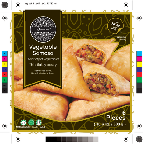 vegetable samosa label