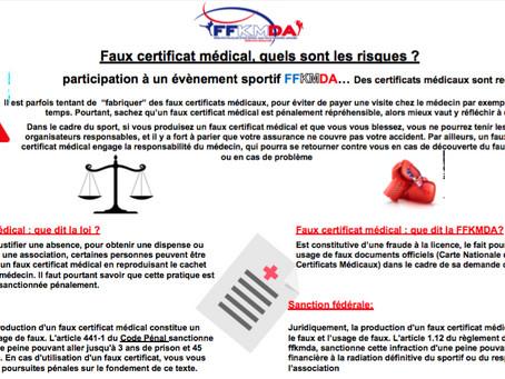 ATTENTION AUX FAUX CERTIFICATS MÉDICAUX
