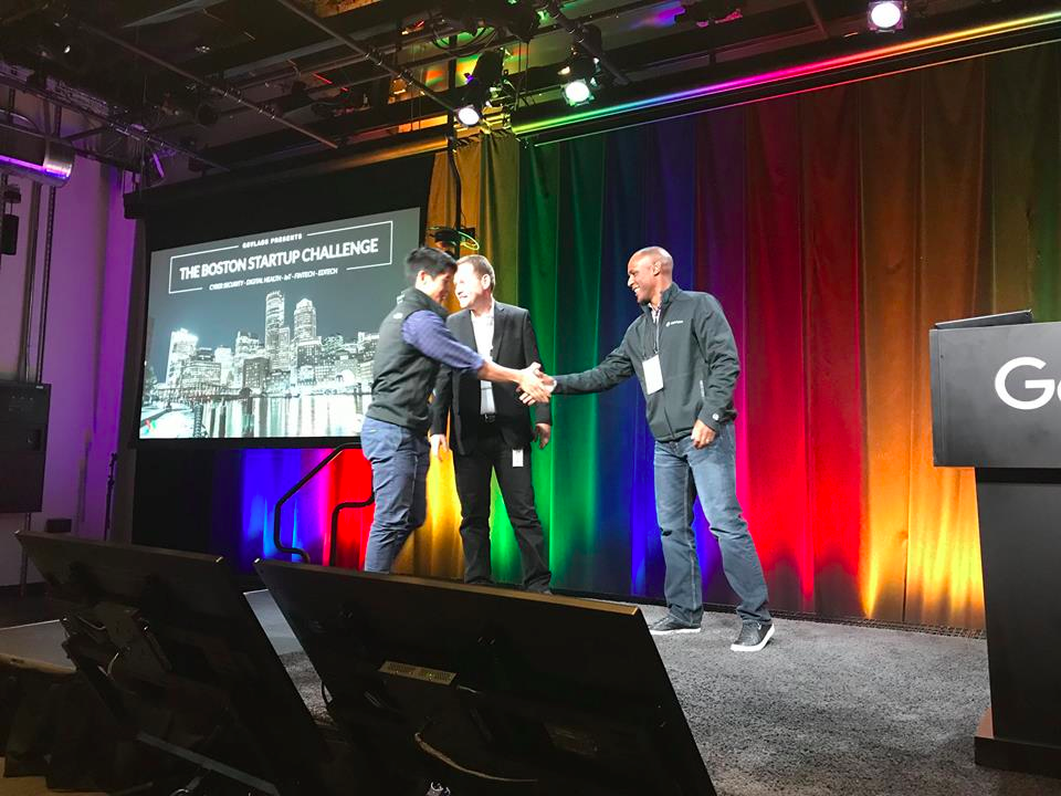 Medumo CEO Adeel Yang at the GSVlabs Boston Startup Challenge at the Google campus in Cambridge, MA.