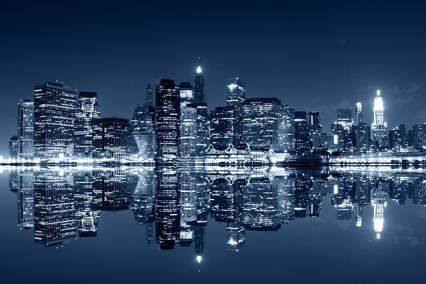 Manhattan at night, New York City. View