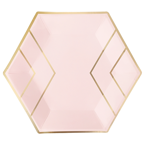 Large Gold and Blush Paper Plates (8)