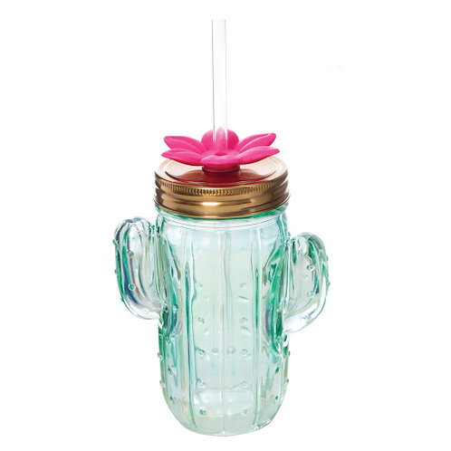 Glass Cactus Sipper