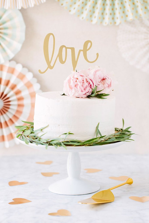 Acrylic Gold Love Cake Topper
