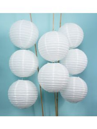 8 pack of white paper lanterns