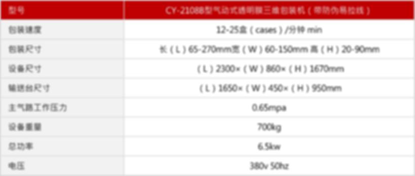 CY-2108B型气动式透明膜三维包装机(带防伪易拉线)