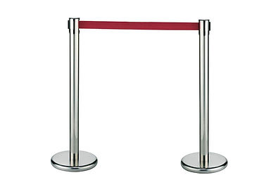 Stainless-Steel Crowd Control Stanchions, Velvet Cordons