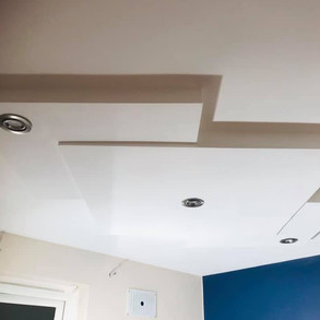 New lights and ceiling installation