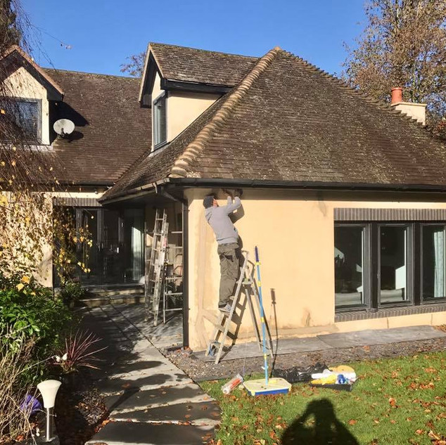 During exterior painting
