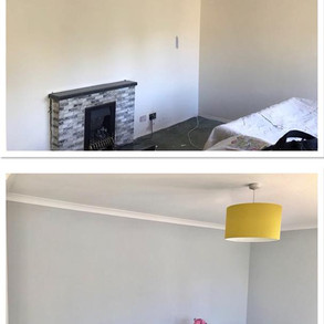 Before and after. Fireplace removing, Painting & decorating