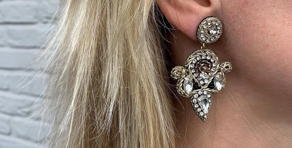Embroidered teardrop crest earrings