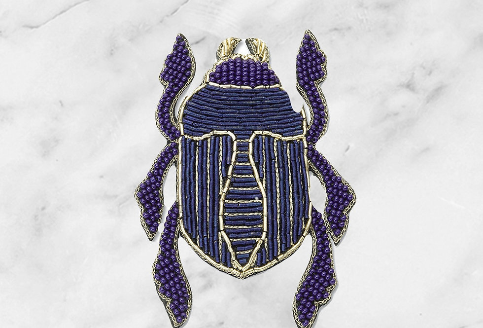 Embroidered scarab brooch