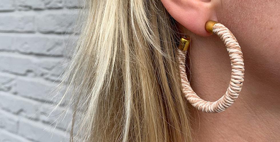 Thread wrap hoop earrings