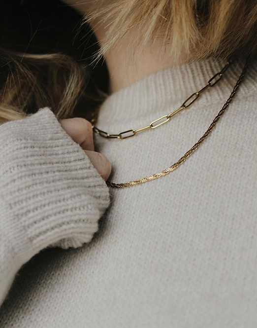 A Weathered Penny Gold layered chain necklace
