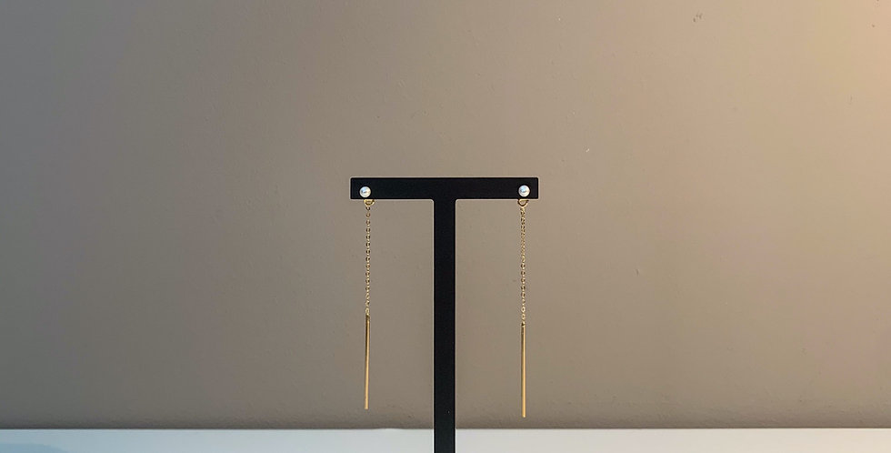 Fabien Ajzenberg Chain with bar and pearl earrings