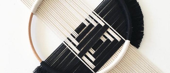 Handmade crochet wallhanger | Geo Black