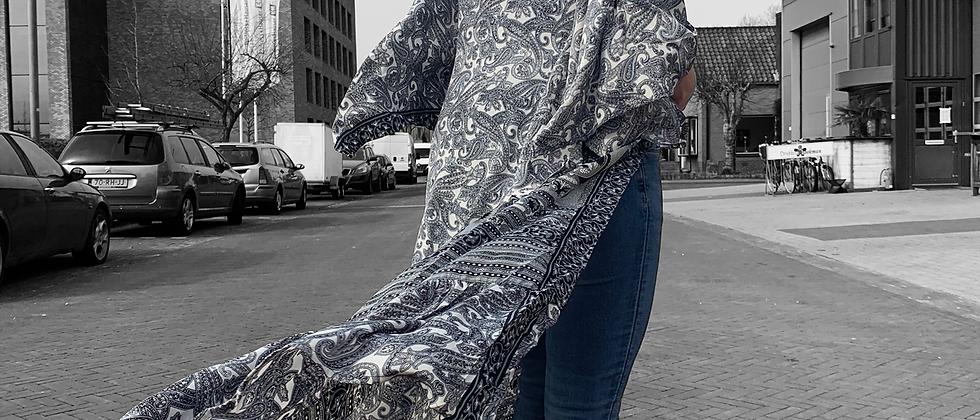 Mint & Molly Long silk kimono grey