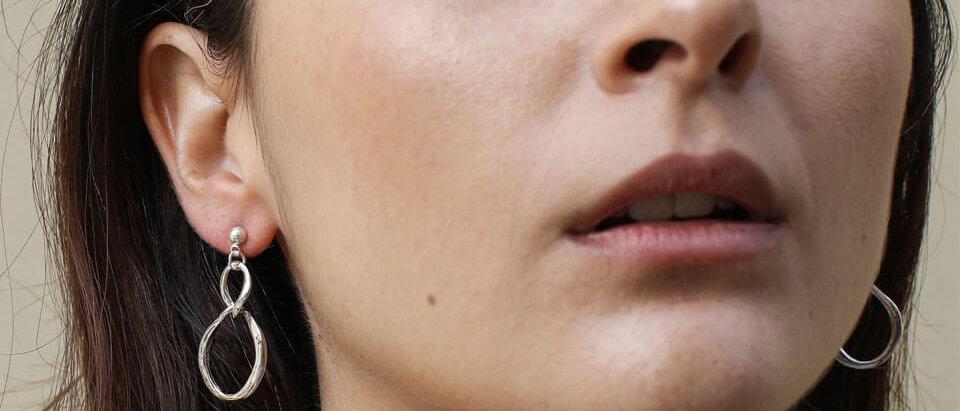 Silver Iris earrings
