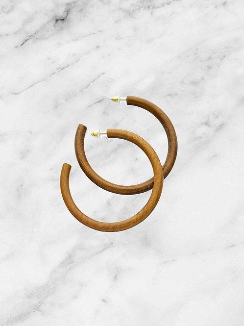 Large wood hoop earrings