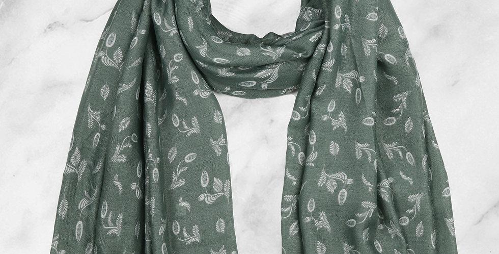 Mint & Molly Green leaf scarf