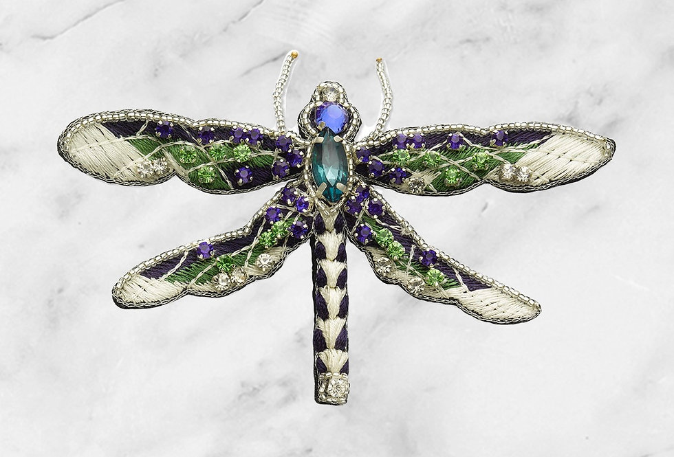 Embroidered dragon fly brooch