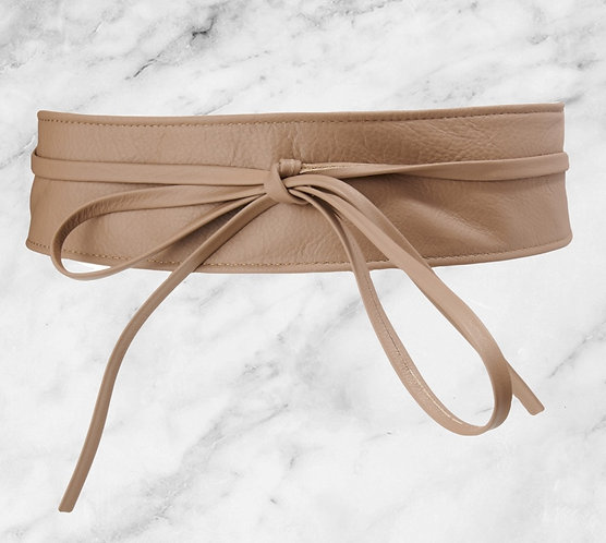 Mint & Molly leather obi belt taupe
