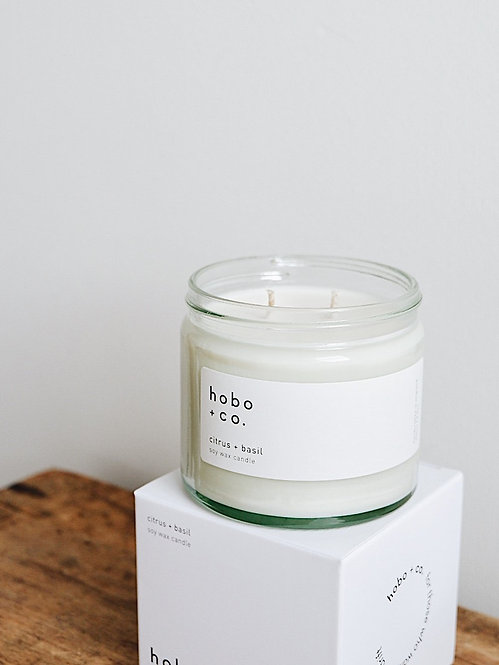 Hobo + Co  Citrus & Basil large candle