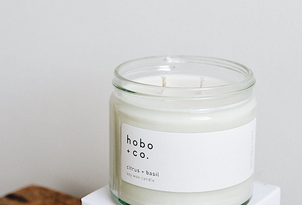 Hobo + Co  Citrus & Basil large candle