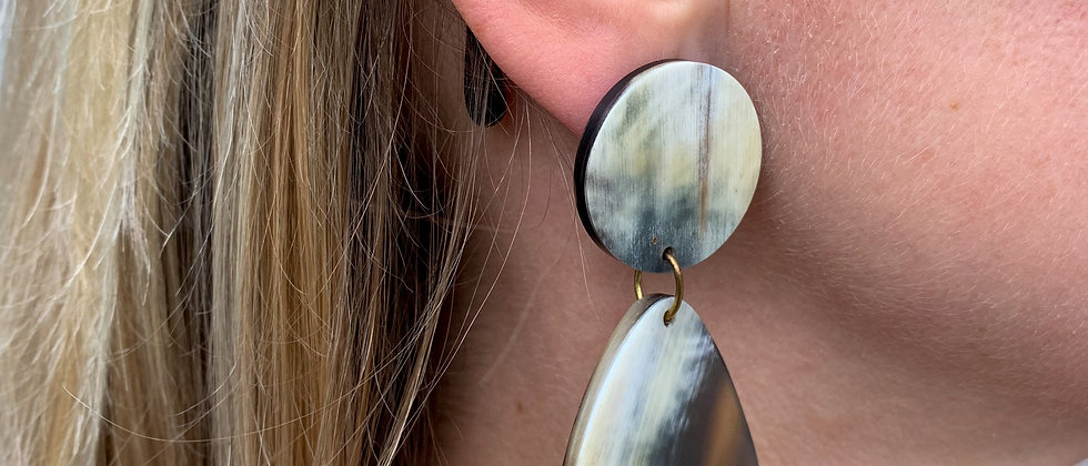 Oblong horn drop earrings