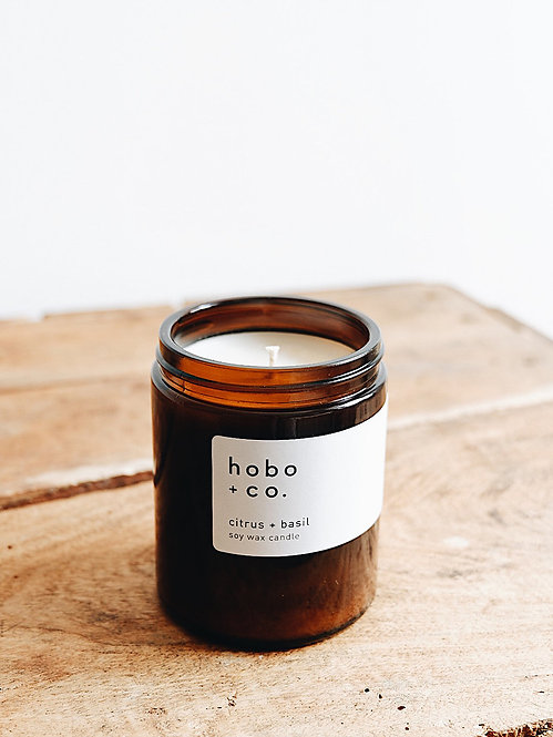 Hobo + Co Citrus & Basil jar candle