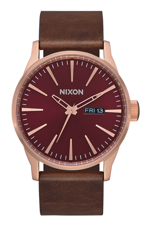 Sentry Leather Rose Gold/Burgundy/Brown