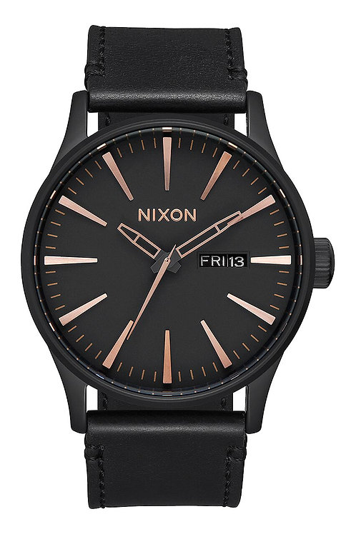 Sentry Leather All Black/Rose Gold