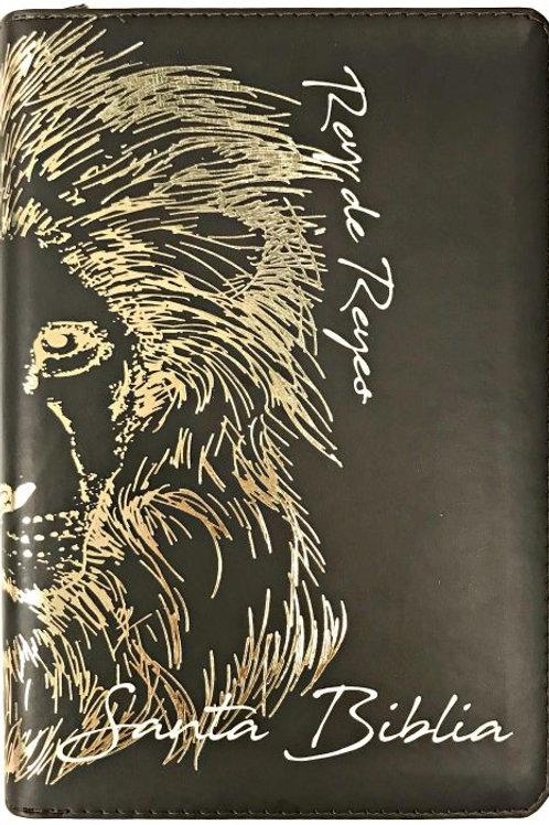 Biblia Letra Grande Tamaño Manual RVR 1960, Imitación Piel Café Con Índice,Zíper
