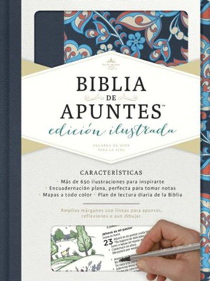 Biblia De Apuntes Ilustrada RVR 1960, Tela Rosa / Azul