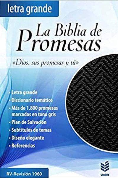 Biblia De Promesas Letra Grande RVR 1960, Piel Especial Con Zíper