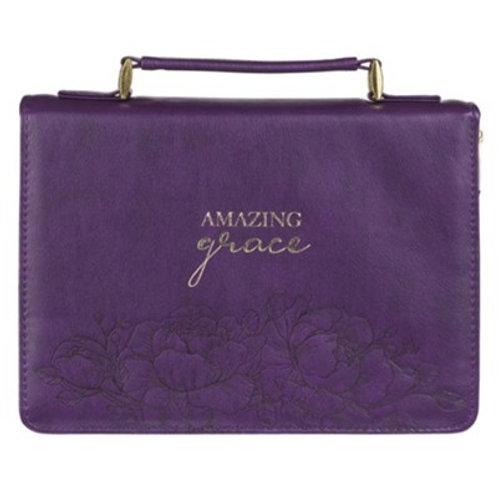 Amazing Grace Bible Cover, Purple Floral, Large