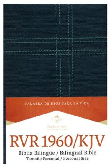 Biblia Bilingüe Tamaño Manual RVR 1960/KJV, Símil Piel Negro Con Índice