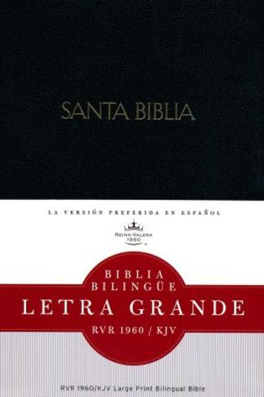 Biblia Bilingüe Letra Grande RVR 1960/KJV,  Imitación Piel Negro con índice
