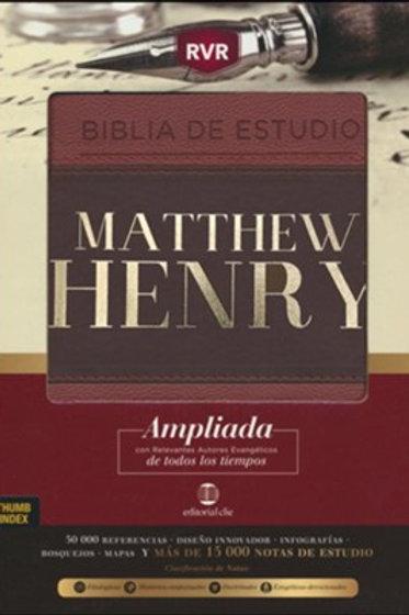 Biblia De Estudio Matthew Henry RVR, Piel Marrón-Café Con Índice