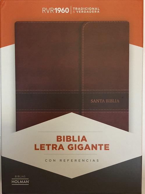 Biblia Letra Gigante RVR 1960, Solapa Con Imán, Símil Piel Con Índice