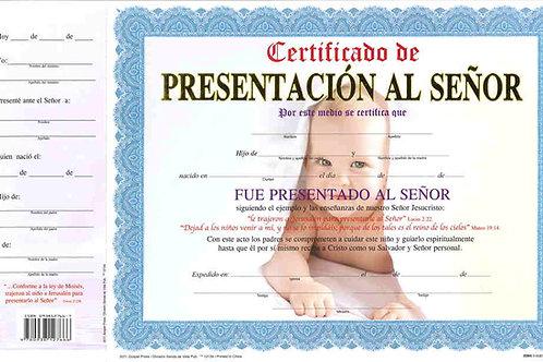 """Certificado de """"Presentación Al Señor""""- Niño"""